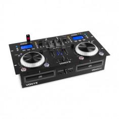 Vonyx CDJ500, stație de lucru DJ, 200W, 2 CD-Player, BT, 2 x USB-Port, mixer cu 2 canale