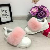 Cumpara ieftin Adidasi albi cu puf roz pantofi sport fete cu scai piele eco 27 28
