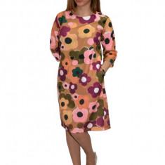 Rochie multicolora de zi cu design floral, Multicolor, 42, 44, 46, 48