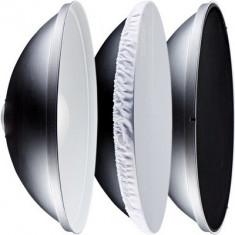 Reflector Beauty Dish argintiu cu grid 56cm - montura Bowens