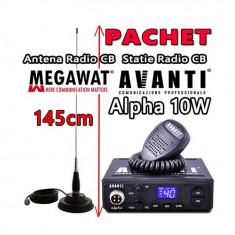 Pachet Statie Radio CB AVANTI Alpha 10W + Antena Radio CB Megawat ML145 cu Magnet Megawat 145PL