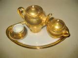B756-Set cafea copii miniatura decor portelan aurit.
