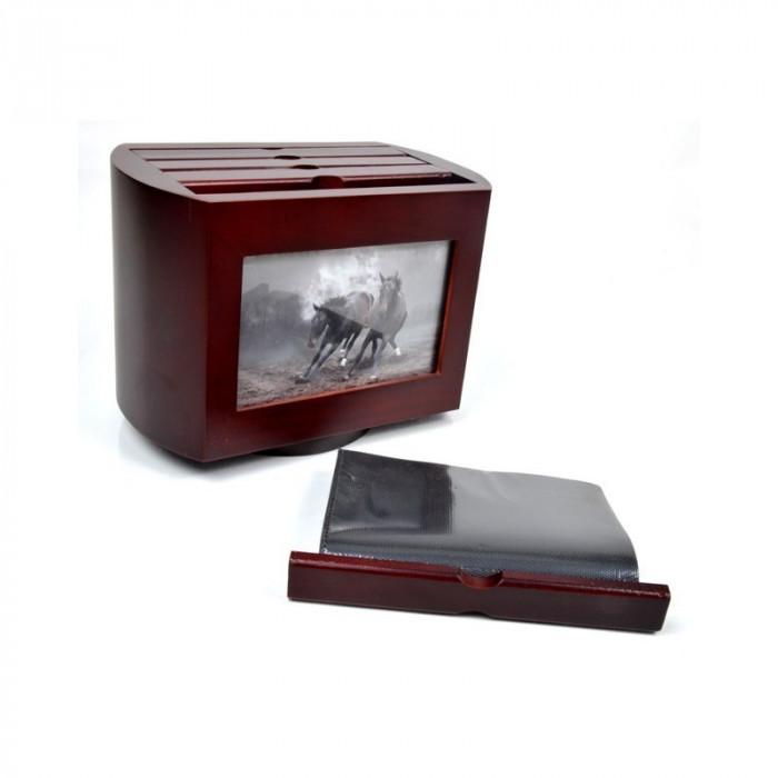 Album foto, lemn, 10x15, 96 poze, personalizabil, rotativ, resigilat, maro
