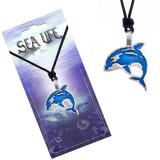 Colier din șnur, negru, pandantiv metalic în formă de pește albastru