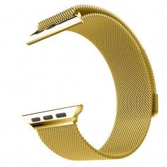Curea metalica de tip Milanese Loop Compatibila cu Apple Watch, 40mm, Gold