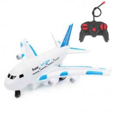 Avion cu telecomanda si lumini Aerobus albastru