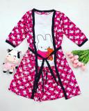 Set pijama dama 3 piese alcatuit din maieu + pantaloni scurti + halat roz cu imprimeu Bunny