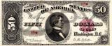 50 dolari 1891 Reproducere Bancnota USD , Dimensiune reala 1:1