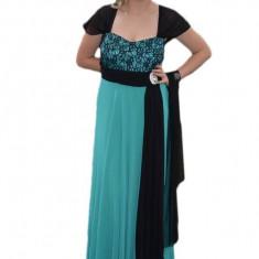 Rochie deosebita de gala, lunga, pe fond turcoaz cu insertii negre