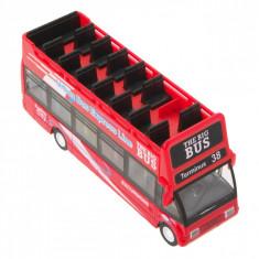 Autobuz turistic de jucarie cu sunete si lumini,14x4x6 cm, rosu