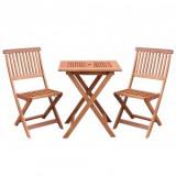 Set pliabil masa cu 2 scaune pentru balcon, Strend Pro Caracas, lemn de meranti, max.150 Kg, maro