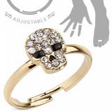 Inel auriu pentru mână sau picior, craniu - zirconiu transparent, nas şi ochi negri - Marime inel: 51