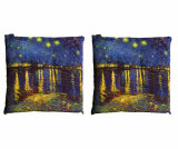 Set 2 perne de sezut Van Gogh Notte Sul Rodano 40x40 cm