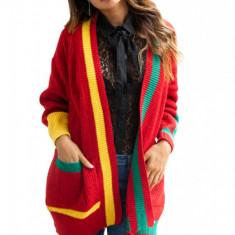 Y746-39 Cardigan tricotat in trei culori cu buzunare mari pe lateral