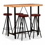 Set mobilier bar, 5 piese, lemn masiv acacia și piele naturală, vidaXL