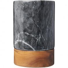 Frapiera din marmura sculptata manual si lemn de salcam, Everestus, 9IA19326, Maro, saculet de calatorie inclus