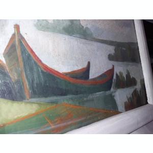 Tablou vechi pictat pe panza cu rama de pictorul I.RADU,Pictura veche,T.Gratuit