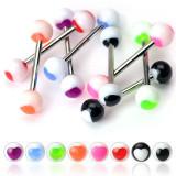 Piercing limbă și bilă cu o inimă colorată - Culoare Piercing: Portocaliu