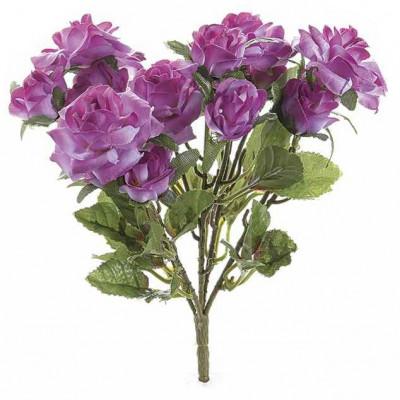 Buchet de flori artificiale trandafiri mov 15 H foto