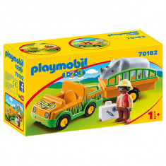 Set de joaca Playmobil 1.2.3, Masina Zoo Cu Rinocer