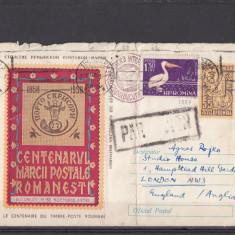 Plic Bucuresti Anglia 1958 - Centenarul Marcii Postale Romanesti 1958