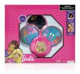 Set de cosmetice in caseta rotunda, cu 3 niveluri, Barbie