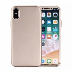 Husa Apple iPhone X Flippy Full Silicone 360 Auriu + Folie de protectie