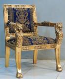 Fotoliu Empire din lemn masiv auriu cu capete de leu MEZ5000-303651, Fotolii