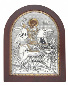 Icoana Sfantul Gheorghe Foita Argint 925 11x13cm Cod Produs 2466