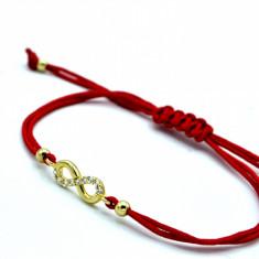Bratara cu snur rosu si pandantiv aur 14K, model Infinit, cod produs 179752