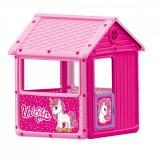 Casuta de joaca pentru copii, Dolu, unicorn roz, 125x100x104 cm, Dohany