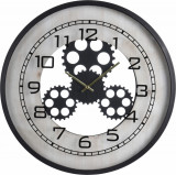 Ceas de perete din metal si MDF 48x6cm Negru cu Alb