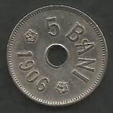 ROMANIA 5 BANI 1906 , litera J - Monetaria Hamburg [5] XF+ , in cartonas, Cupru-Nichel