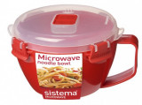 Bol din plastic cu maner si capac pentru microunde Sistema 940 ml