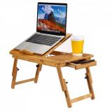 Masuta laptop 14 inch, pliabila, suport pahar, sertar, lemn de bambus, 50x30 cm, ProCart