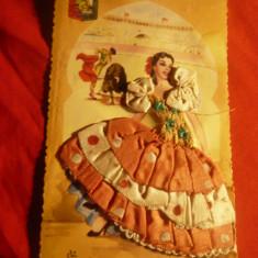 Ilustrata -Felicitare -Femeie- costum popular spaniol circ. 1959 , cu mat.textil