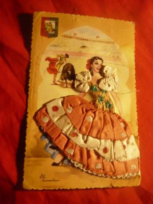 Ilustrata -Felicitare -Femeie- costum popular spaniol circ. 1959 , cu mat.textil foto