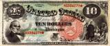10 dolari 1869 Reproducere Bancnota USD , Dimensiune reala 1:1